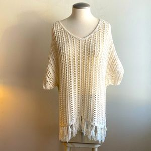 American Eagle Outfitters Lacy Ivory Knit Sweater